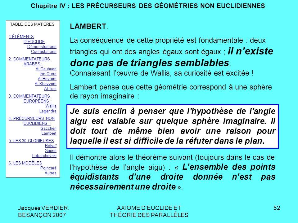 Jacques VERDIER. BESANÇON 2007 AXIOME D'EUCLIDE ET THÉORIE DES PARALLÈLES 51 Chapitre IV : LES PRÉCURSEURS DES GÉOMÉTRIES NON EUCLIDIENNES LAMBERT : 1