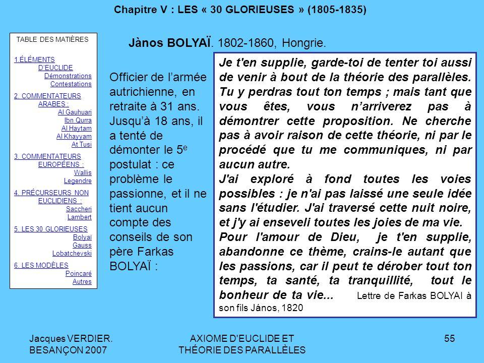Jacques VERDIER. BESANÇON 2007 AXIOME D'EUCLIDE ET THÉORIE DES PARALLÈLES 54 Chapitre V : LES « 30 GLORIEUSES » (1805-1835) TABLE DES MATIÈRES 1.ÉLÉME