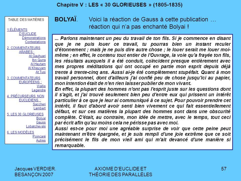 Jacques VERDIER. BESANÇON 2007 AXIOME D'EUCLIDE ET THÉORIE DES PARALLÈLES 56 Chapitre V : LES « 30 GLORIEUSES » (1805-1835) BOLYAÏ. En 1825, il avait