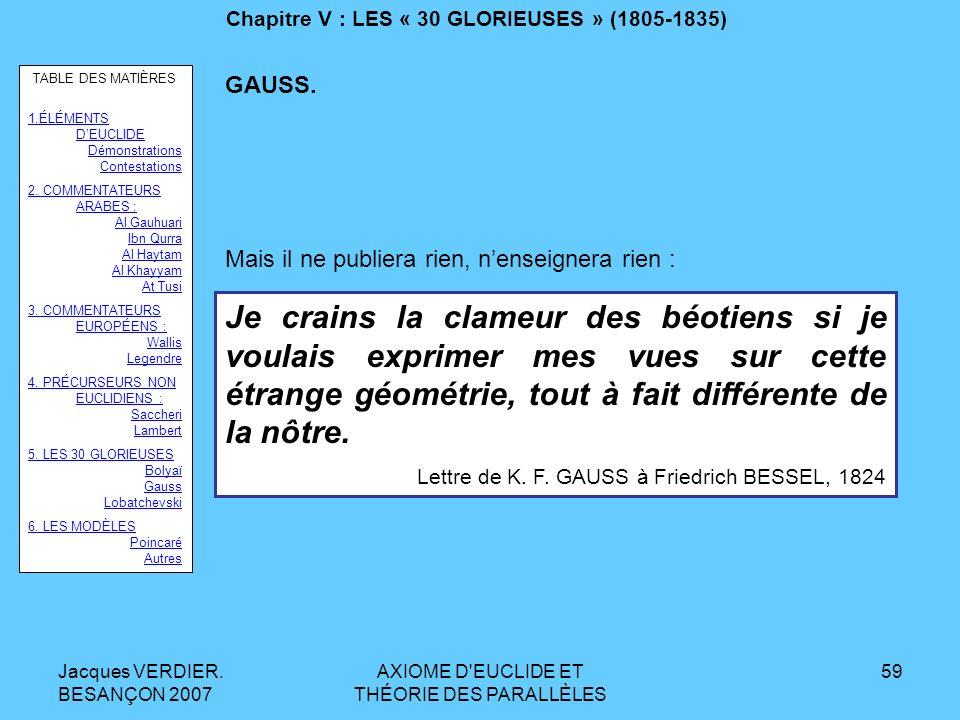 Jacques VERDIER. BESANÇON 2007 AXIOME D'EUCLIDE ET THÉORIE DES PARALLÈLES 58 Chapitre V : LES « 30 GLORIEUSES » (1805-1835) Karl Friedrich GAUSS : Bru