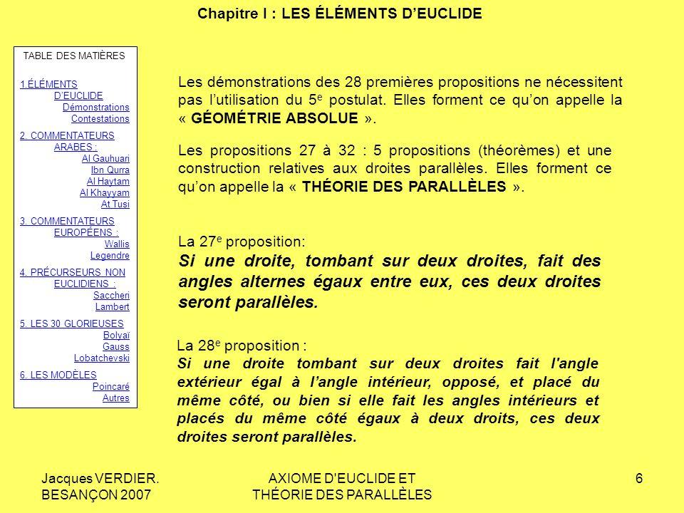 Jacques VERDIER. BESANÇON 2007 AXIOME D'EUCLIDE ET THÉORIE DES PARALLÈLES 5 Chapitre I : LES ÉLÉMENTS DEUCLIDE Si une droite, tombant sur deux droites