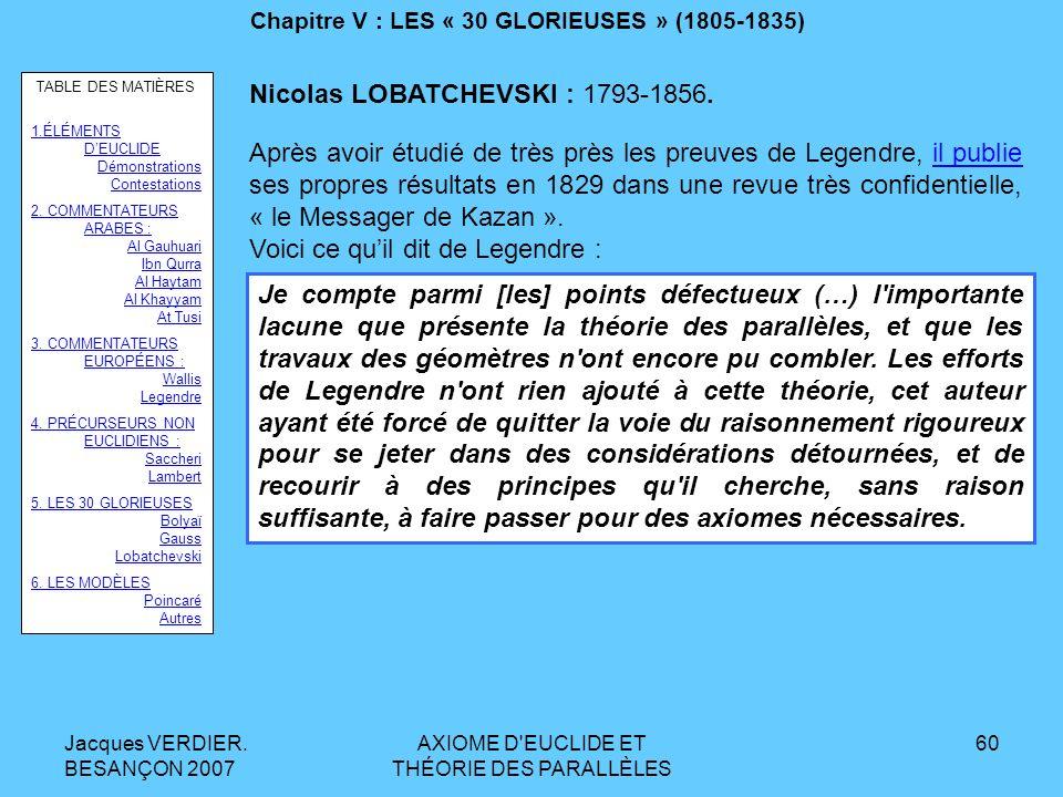 Jacques VERDIER. BESANÇON 2007 AXIOME D'EUCLIDE ET THÉORIE DES PARALLÈLES 59 Chapitre V : LES « 30 GLORIEUSES » (1805-1835) GAUSS. Mais il ne publiera