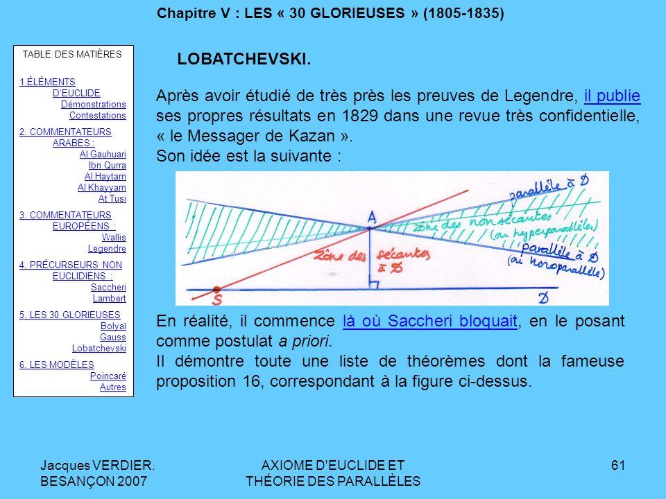Jacques VERDIER. BESANÇON 2007 AXIOME D'EUCLIDE ET THÉORIE DES PARALLÈLES 60 Chapitre V : LES « 30 GLORIEUSES » (1805-1835) Nicolas LOBATCHEVSKI : 179