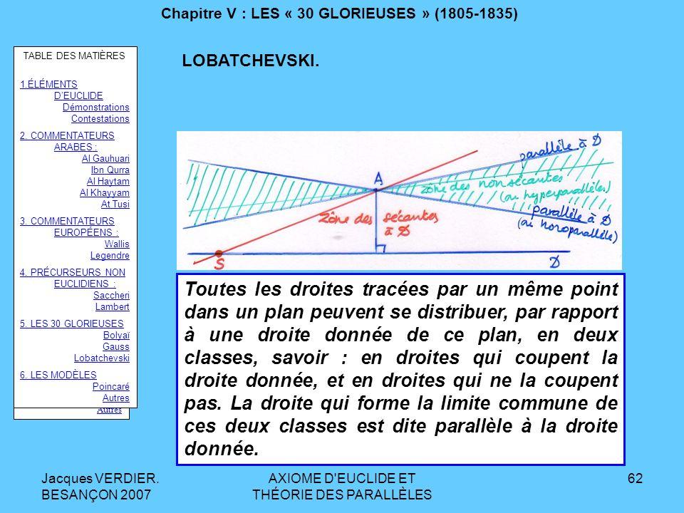 Jacques VERDIER. BESANÇON 2007 AXIOME D'EUCLIDE ET THÉORIE DES PARALLÈLES 61 Chapitre V : LES « 30 GLORIEUSES » (1805-1835) Après avoir étudié de très