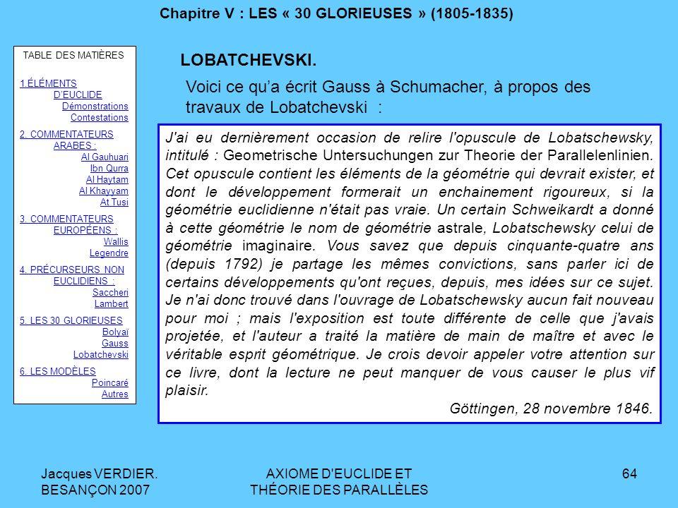 Jacques VERDIER. BESANÇON 2007 AXIOME D'EUCLIDE ET THÉORIE DES PARALLÈLES 63 Chapitre V : LES « 30 GLORIEUSES » (1805-1835) LOBATCHEVSKI. Voici encore