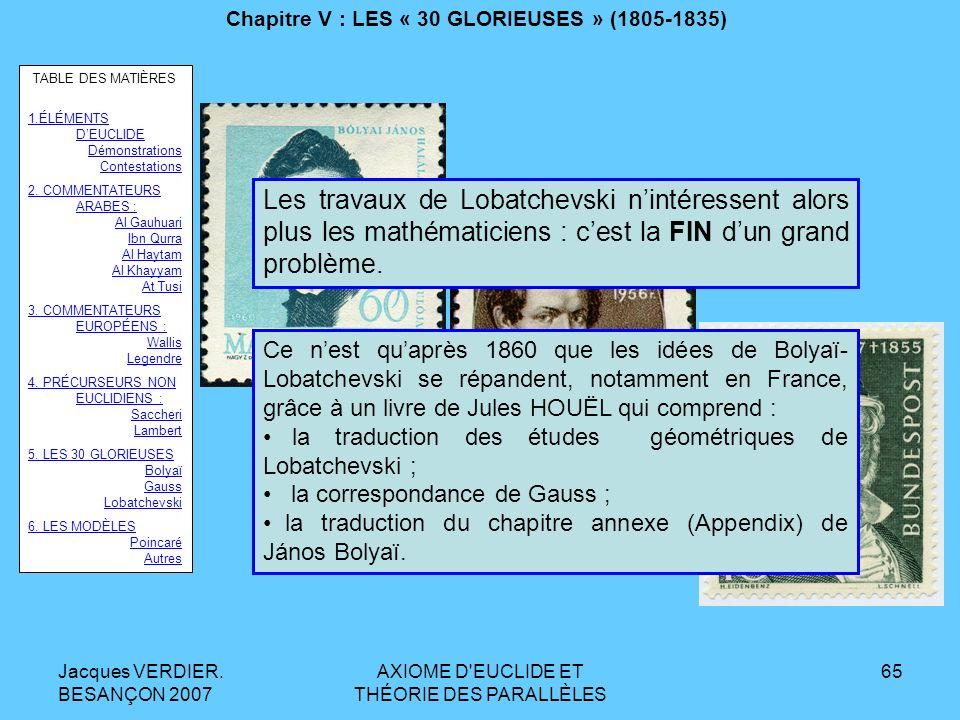 Jacques VERDIER. BESANÇON 2007 AXIOME D'EUCLIDE ET THÉORIE DES PARALLÈLES 64 Chapitre V : LES « 30 GLORIEUSES » (1805-1835) LOBATCHEVSKI. Voici ce qua