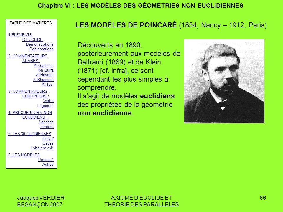 Jacques VERDIER. BESANÇON 2007 AXIOME D'EUCLIDE ET THÉORIE DES PARALLÈLES 65 Chapitre V : LES « 30 GLORIEUSES » (1805-1835) Les travaux de Lobatchevsk