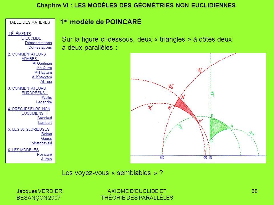 Jacques VERDIER. BESANÇON 2007 AXIOME D'EUCLIDE ET THÉORIE DES PARALLÈLES 67 Chapitre VI : LES MODÈLES DES GÉOMÉTRIES NON EUCLIDIENNES 1 er modèle de