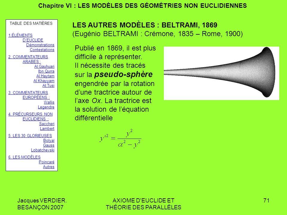 Jacques VERDIER. BESANÇON 2007 AXIOME D'EUCLIDE ET THÉORIE DES PARALLÈLES 70 Chapitre VI : LES MODÈLES DES GÉOMÉTRIES NON EUCLIDIENNES Un exemple de p