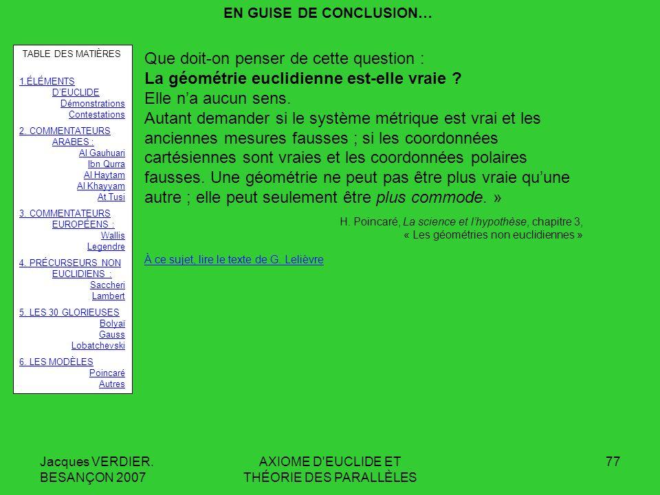 Jacques VERDIER. BESANÇON 2007 AXIOME D'EUCLIDE ET THÉORIE DES PARALLÈLES 76 Chapitre VI : LES MODÈLES DES GÉOMÉTRIES NON EUCLIDIENNES … Par contre, l