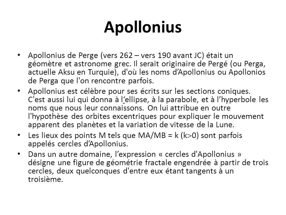 Apollonius Apollonius de Perge (vers 262 – vers 190 avant JC) était un géomètre et astronome grec. Il serait originaire de Pergé (ou Perga, actuelle A