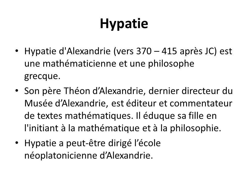 Hypatie Hypatie d'Alexandrie (vers 370 – 415 après JC) est une mathématicienne et une philosophe grecque. Son père Théon dAlexandrie, dernier directeu