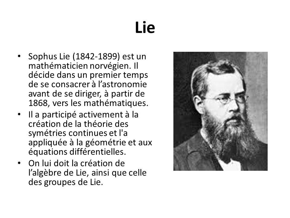 Lie Sophus Lie (1842-1899) est un mathématicien norvégien. Il décide dans un premier temps de se consacrer à lastronomie avant de se diriger, à partir