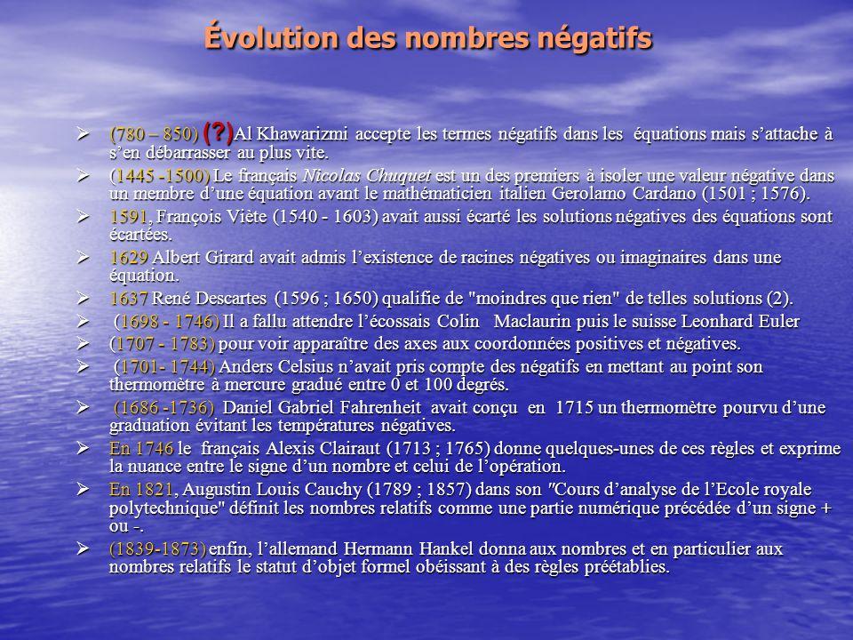 Évolution des nombres négatifs ( 780 – 850) (?) Al Khawarizmi accepte les termes négatifs dans les équations mais sattache à sen débarrasser au plus vite.