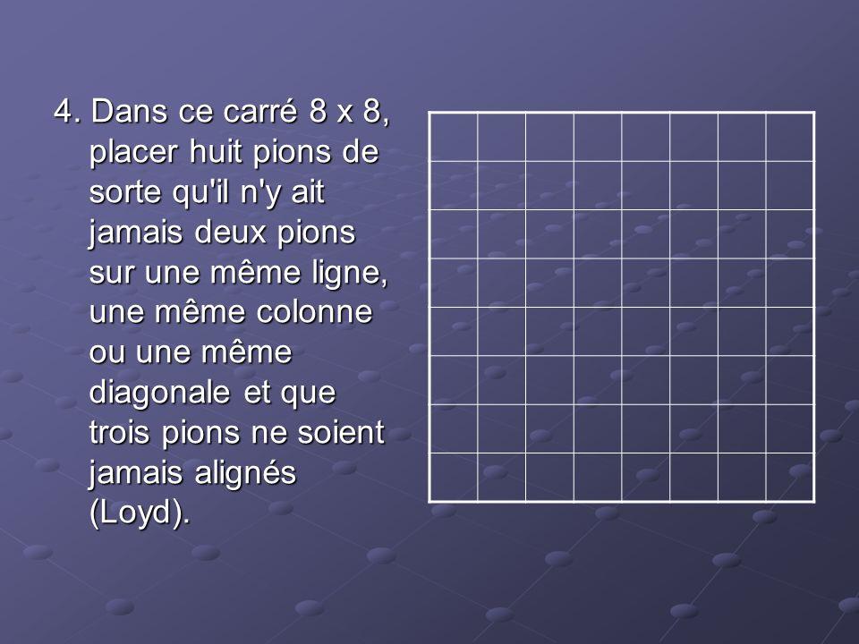 Nombre d alignements de 3 points pour n points donnés : Pts3456789101112 Lign11246710121619 Nombre d alignements de 4 points pour n points donnés : Pts3456789101112Lign-111223567