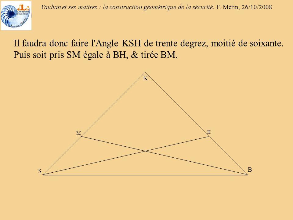Vauban et ses maîtres : la construction géométrique de la sécurité. F. Métin, 26/10/2008 Il faudra donc faire l'Angle KSH de trente degrez, moitié de