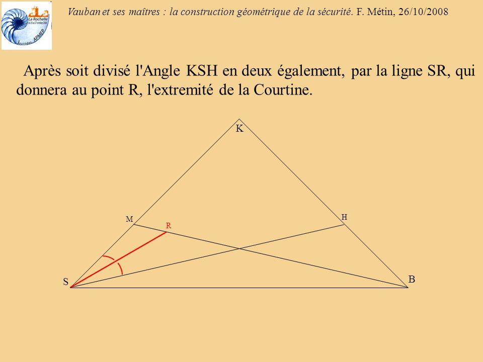 Vauban et ses maîtres : la construction géométrique de la sécurité. F. Métin, 26/10/2008 Après soit divisé l'Angle KSH en deux également, par la ligne