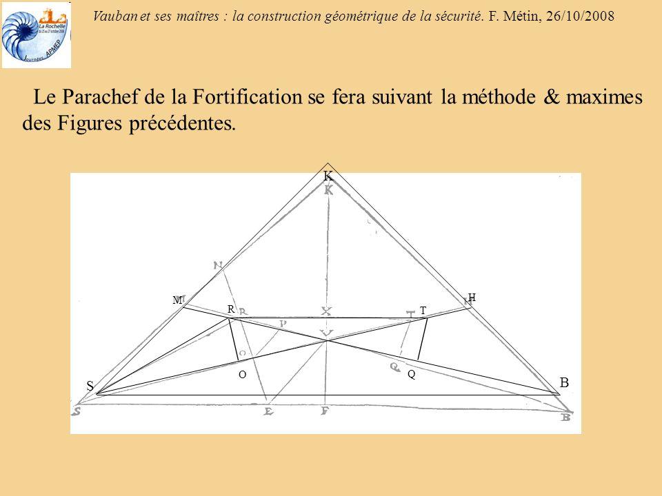Vauban et ses maîtres : la construction géométrique de la sécurité. F. Métin, 26/10/2008 Le Parachef de la Fortification se fera suivant la méthode &