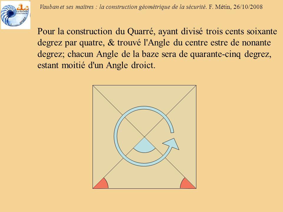 Vauban et ses maîtres : la construction géométrique de la sécurité. F. Métin, 26/10/2008 Pour la construction du Quarré, ayant divisé trois cents soix