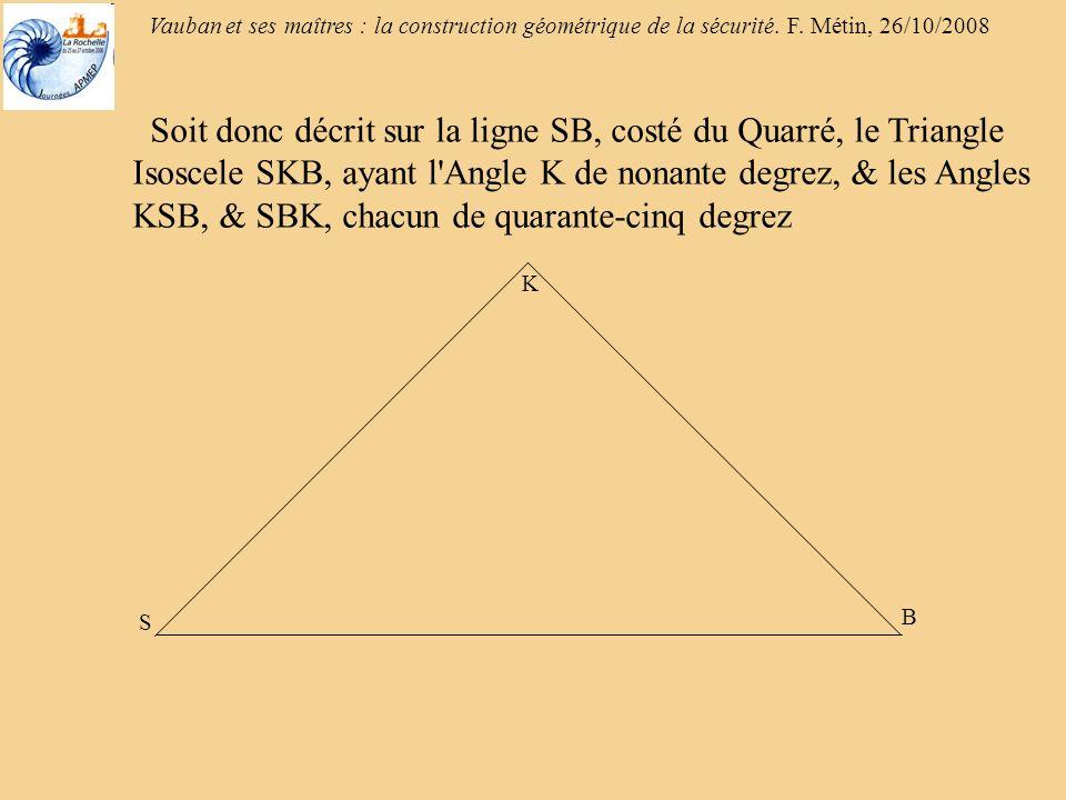 Vauban et ses maîtres : la construction géométrique de la sécurité. F. Métin, 26/10/2008 B K S Soit donc décrit sur la ligne SB, costé du Quarré, le T