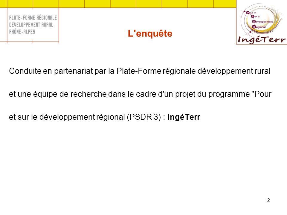 2 Conduite en partenariat par la Plate-Forme régionale développement rural et une équipe de recherche dans le cadre d un projet du programme Pour et sur le développement régional (PSDR 3) : IngéTerr L enquête