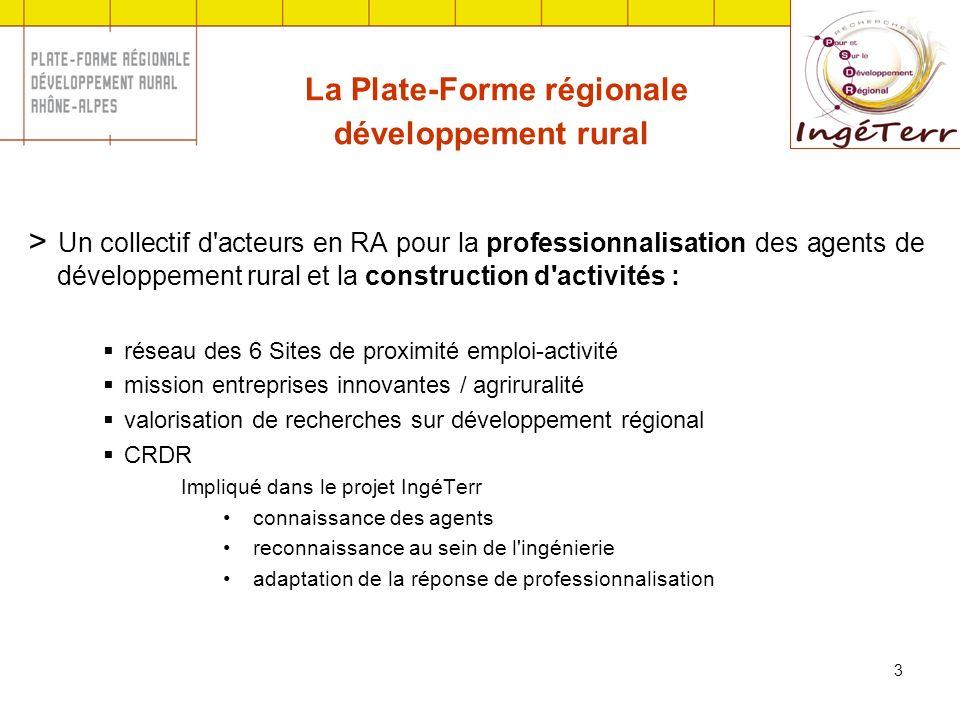 3 La Plate-Forme régionale développement rural > Un collectif d'acteurs en RA pour la professionnalisation des agents de développement rural et la con