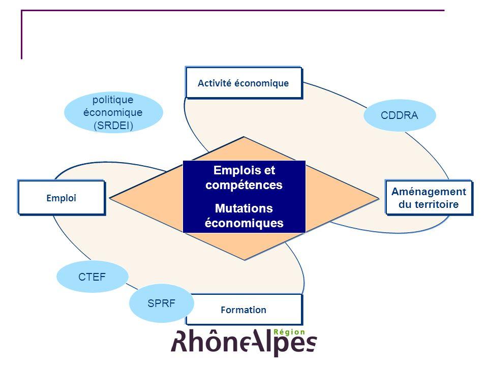 Activité économique Emploi Formation Aménagement du territoire CTEF politique économique (SRDEI) CDDRA Emplois et compétences Mutations économiques SP