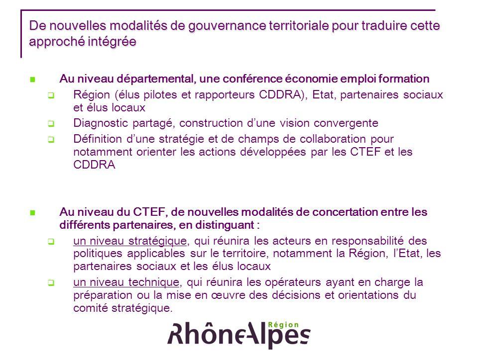 De nouvelles modalités de gouvernance territoriale pour traduire cette approché intégrée Au niveau départemental, une conférence économie emploi forma