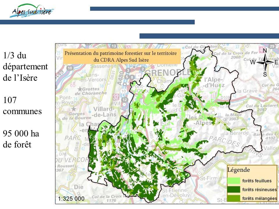 1/3 du département de lIsère 107 communes 95 000 ha de forêt