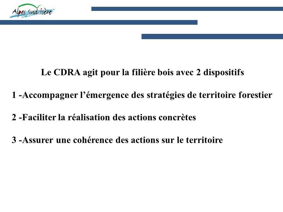 Le CDRA agit pour la filière bois avec 2 dispositifs 1 -Accompagner lémergence des stratégies de territoire forestier 2 -Faciliter la réalisation des actions concrètes 3 -Assurer une cohérence des actions sur le territoire