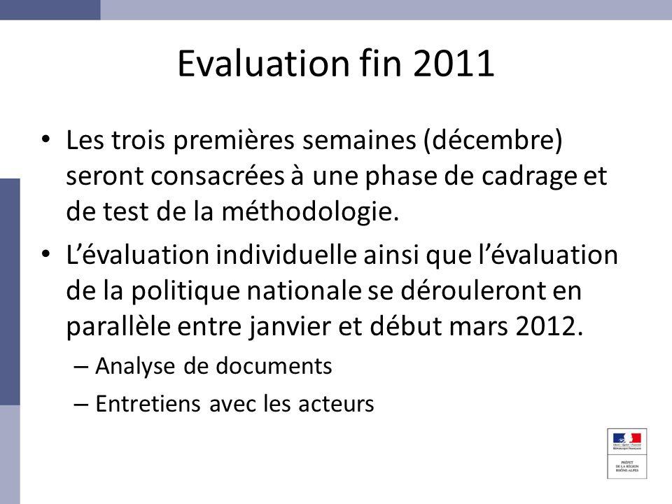 Evaluation fin 2011 Les trois premières semaines (décembre) seront consacrées à une phase de cadrage et de test de la méthodologie. Lévaluation indivi