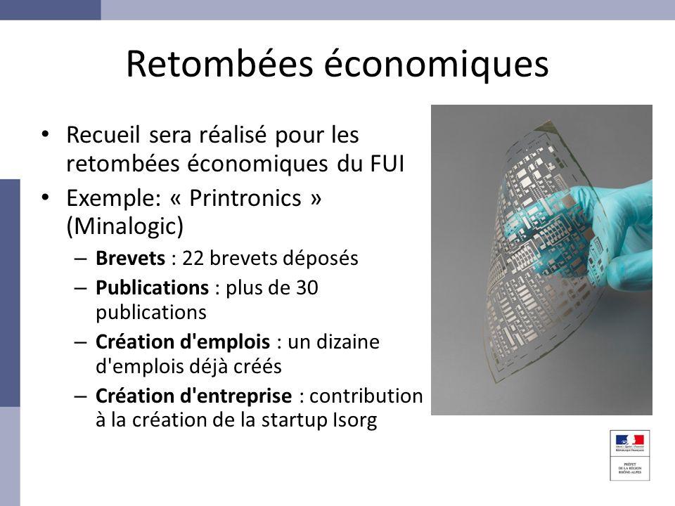 Retombées économiques Recueil sera réalisé pour les retombées économiques du FUI Exemple: « Printronics » (Minalogic) – Brevets : 22 brevets déposés –