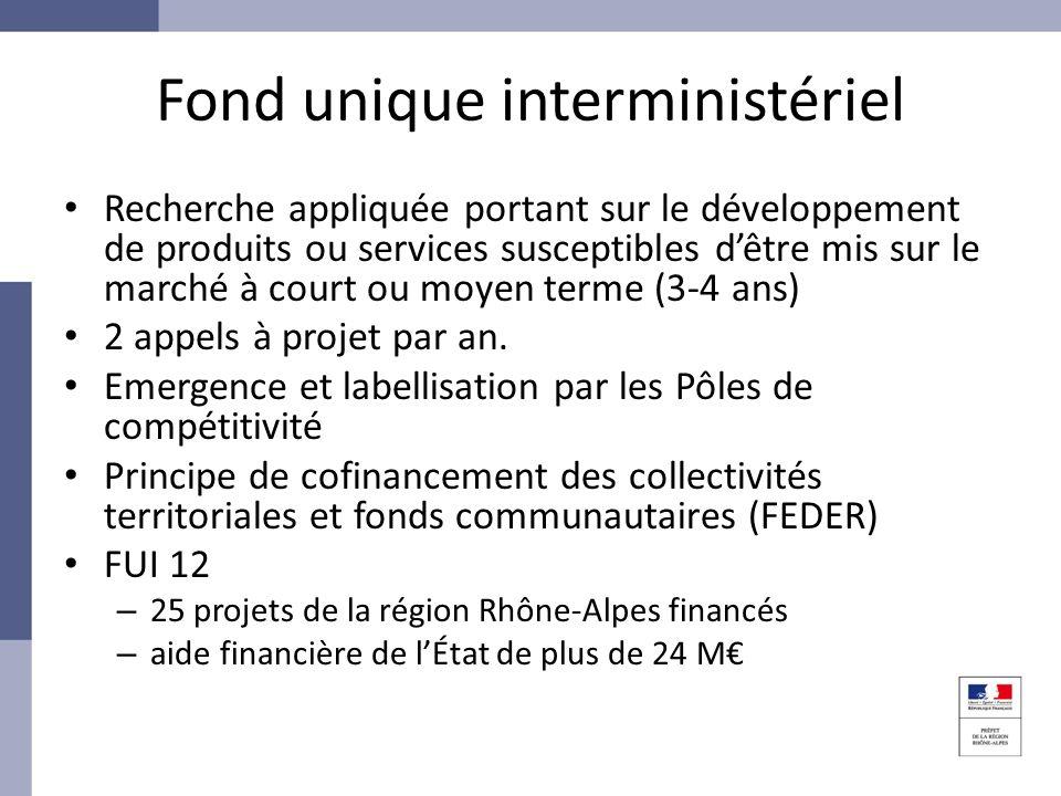 Fond unique interministériel Recherche appliquée portant sur le développement de produits ou services susceptibles dêtre mis sur le marché à court ou