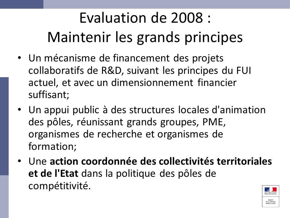 Evaluation de 2008 : Maintenir les grands principes Un mécanisme de financement des projets collaboratifs de R&D, suivant les principes du FUI actuel,