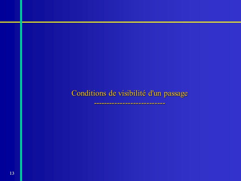 13 Conditions de visibilité d'un passage ---------------------------