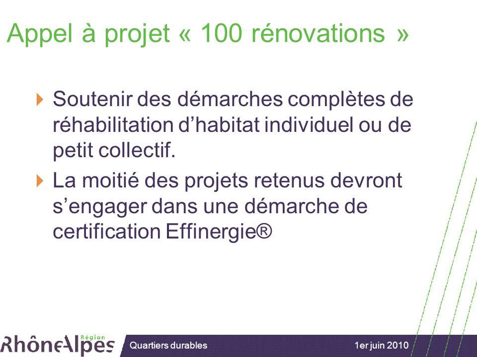 15/02/2007 1er juin 2010Quartiers durables Appel à projet « 100 rénovations » Soutenir des démarches complètes de réhabilitation dhabitat individuel ou de petit collectif.