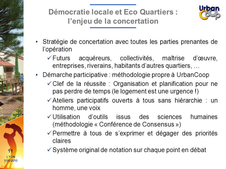 11 LYON 1/06/2010 Démocratie locale et Eco Quartiers : lenjeu de la concertation Stratégie de concertation avec toutes les parties prenantes de lopéra