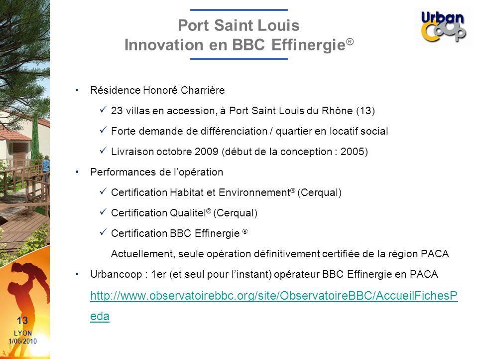 13 LYON 1/06/2010 Port Saint Louis Innovation en BBC Effinergie ® Résidence Honoré Charrière 23 villas en accession, à Port Saint Louis du Rhône (13)