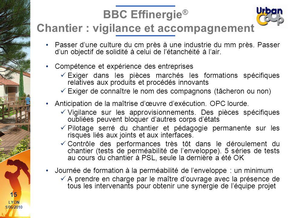 15 LYON 1/06/2010 BBC Effinergie ® Chantier : vigilance et accompagnement Passer dune culture du cm près à une industrie du mm près. Passer dun object