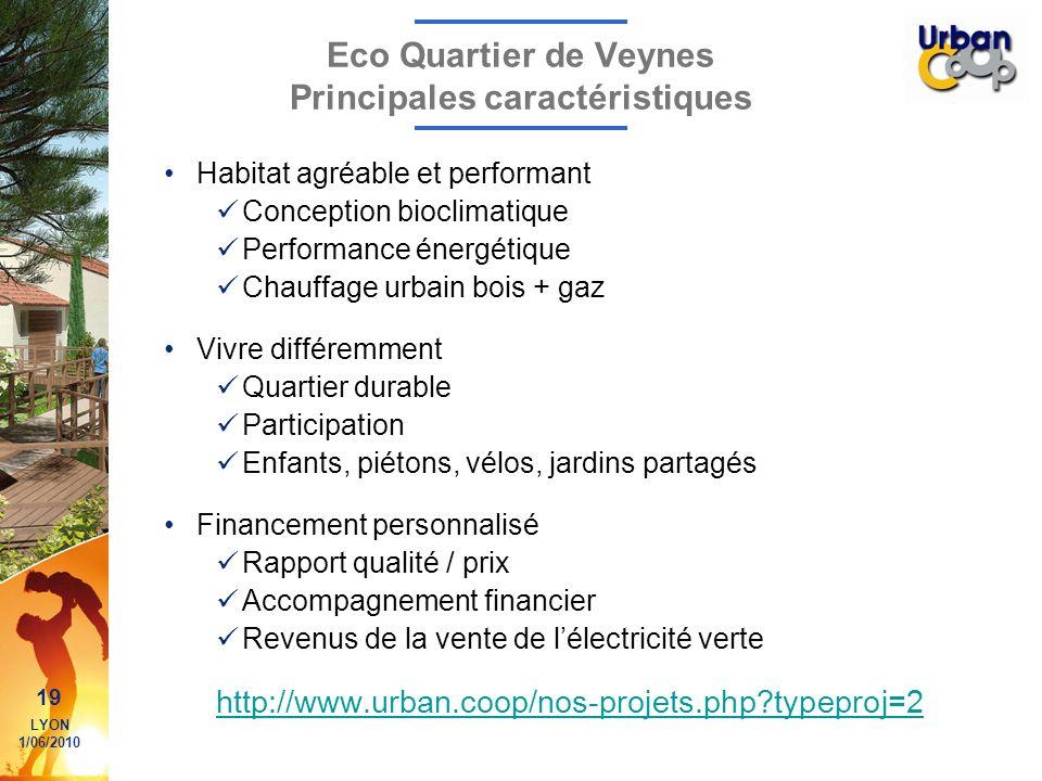 19 LYON 1/06/2010 Eco Quartier de Veynes Principales caractéristiques Habitat agréable et performant Conception bioclimatique Performance énergétique