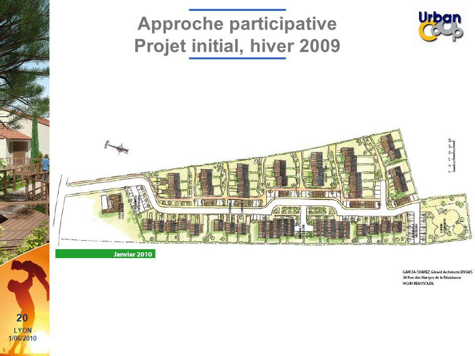20 LYON 1/06/2010 Approche participative Projet initial, hiver 2009