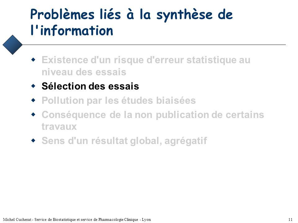 Michel Cucherat - Service de Biostatistique et service de Pharmacologie Clinique - Lyon 10 Solution - 1 Existence d'un risque d'erreur statistique au