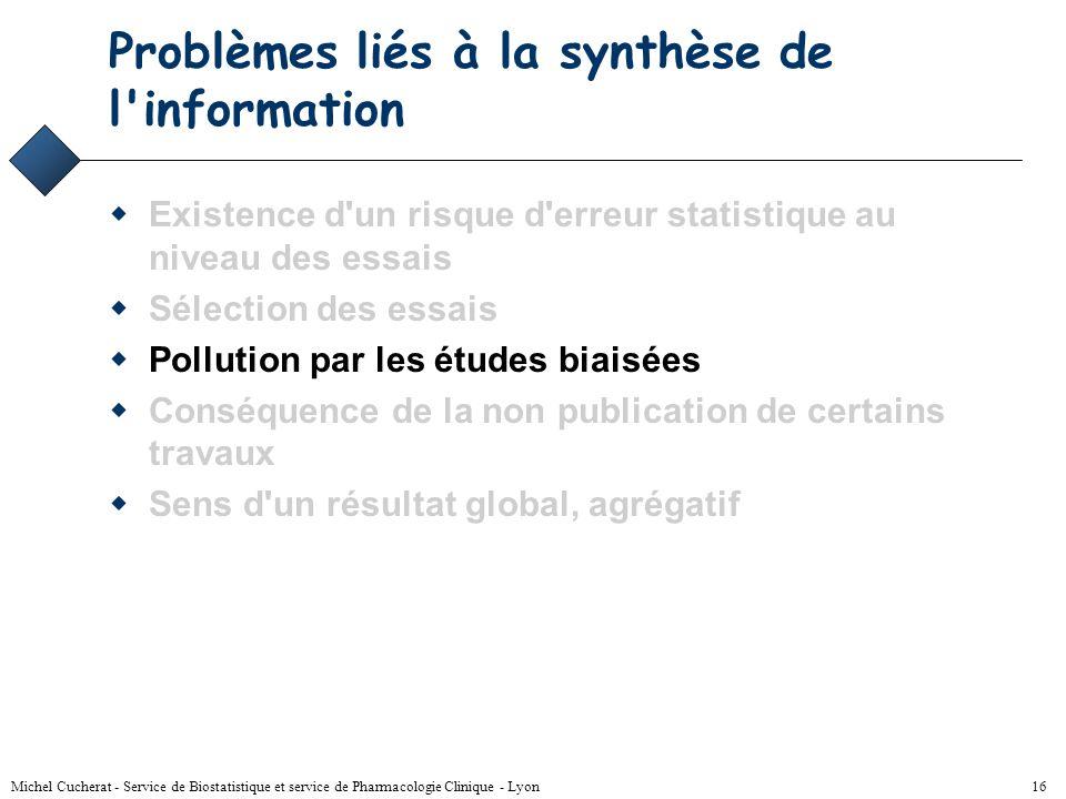Michel Cucherat - Service de Biostatistique et service de Pharmacologie Clinique - Lyon 15 Solution - 2 Sélection arbitraire des essais en fonction de