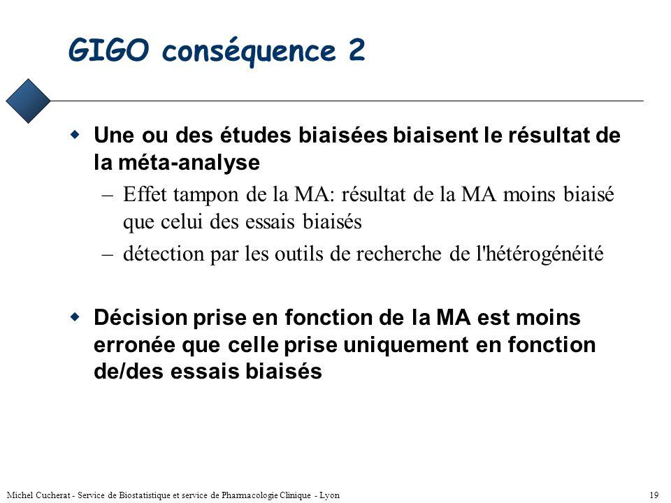 Michel Cucherat - Service de Biostatistique et service de Pharmacologie Clinique - Lyon 18 GIGO conséquence 1 La méta-analyse n'est pas une méthode ma