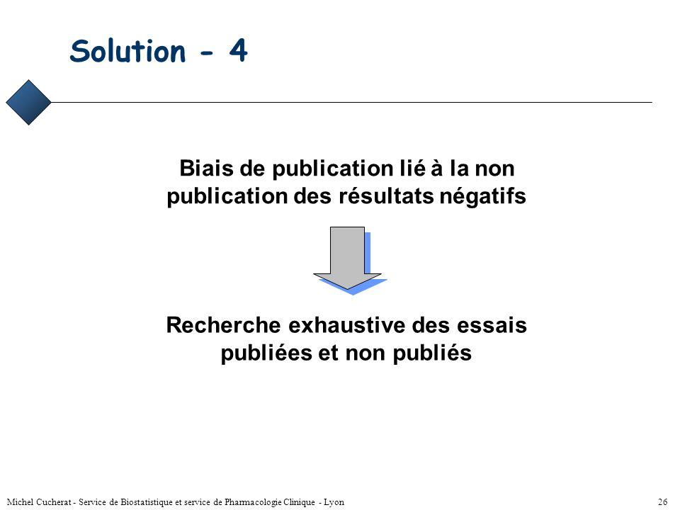 Michel Cucherat - Service de Biostatistique et service de Pharmacologie Clinique - Lyon 25 Biais de publication évaluation Évaluation de l'influence d