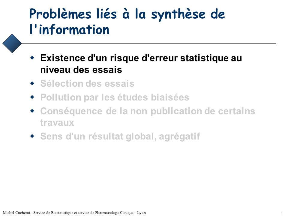 Michel Cucherat - Service de Biostatistique et service de Pharmacologie Clinique - Lyon 4 Problèmes liés à la synthèse de l information Existence d un risque d erreur statistique au niveau des essais Sélection des essais Pollution par les études biaisées Conséquence de la non publication de certains travaux Sens d un résultat global, agrégatif
