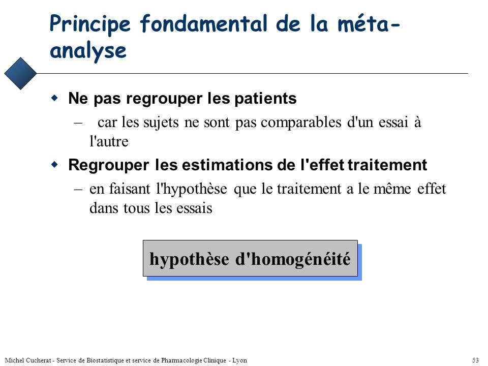 Michel Cucherat - Service de Biostatistique et service de Pharmacologie Clinique - Lyon 52 Simpson's paradox Essai 1 : risque de 30% avec les 2 traite