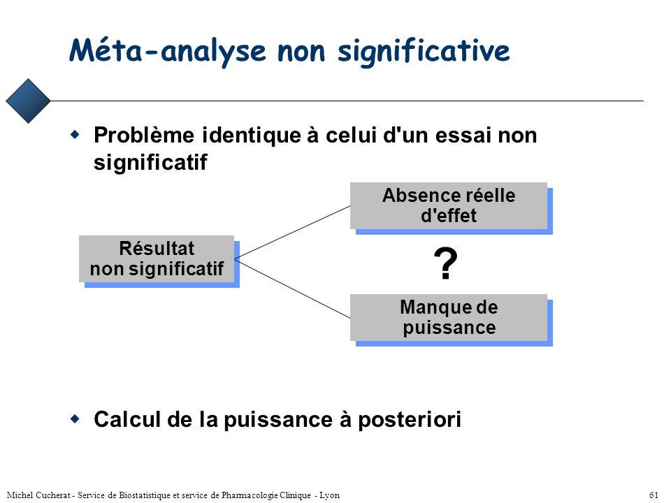 Michel Cucherat - Service de Biostatistique et service de Pharmacologie Clinique - Lyon 60 Statut de l'hétérogénéité Nuisance –utilisation d'un modèle