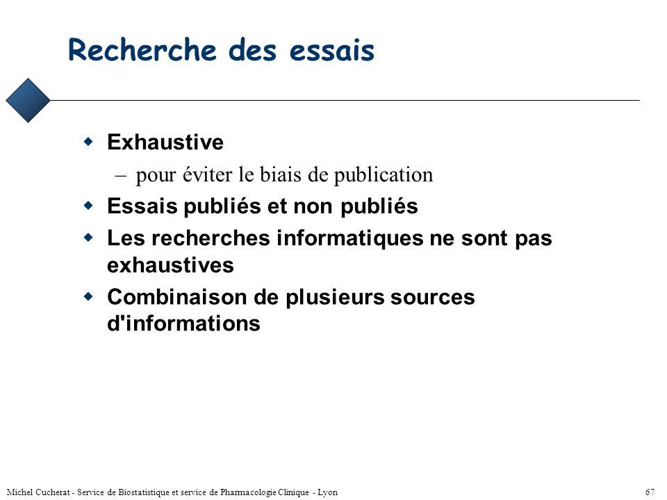 Michel Cucherat - Service de Biostatistique et service de Pharmacologie Clinique - Lyon 66 Méthodologie But : Eviter les biais Moyen : Définition d'un