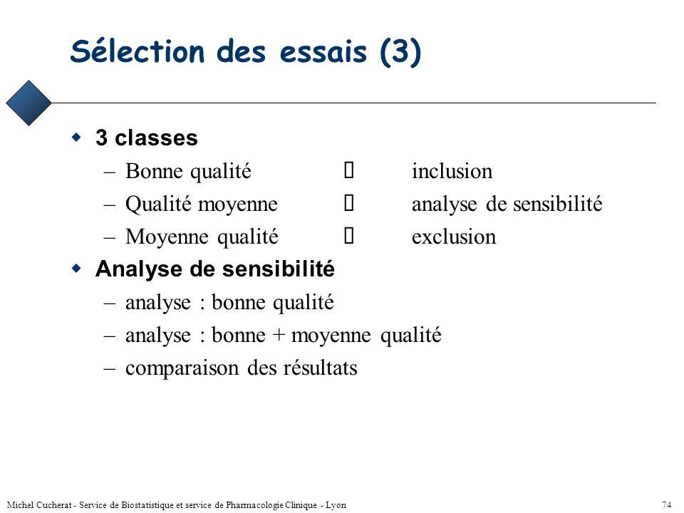 Michel Cucherat - Service de Biostatistique et service de Pharmacologie Clinique - Lyon 73 Sélection des essais (2) Qualité méthodologique –grilles de